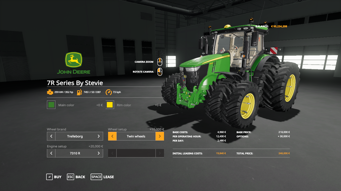 Tracteur Serie John Deere R V Fs